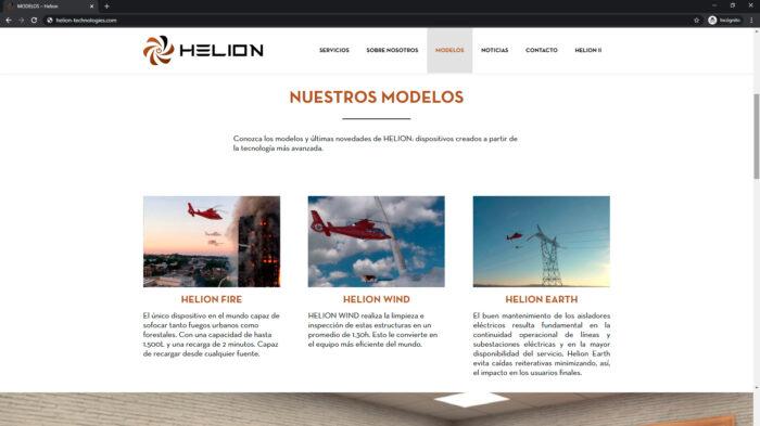 pagina web Modelos helion - empresa tecnologica