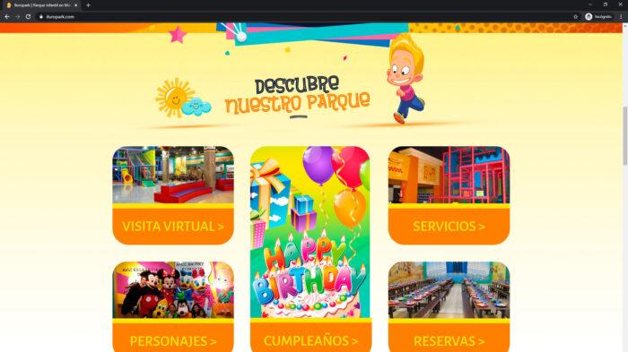 pagina web servicios iluropark - parque infantil