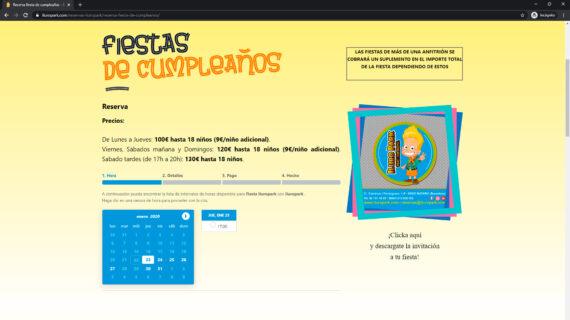 pagina web reservas iluropark - parque infantil
