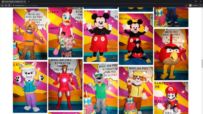 pagina web personajes iluropark - parque infantil