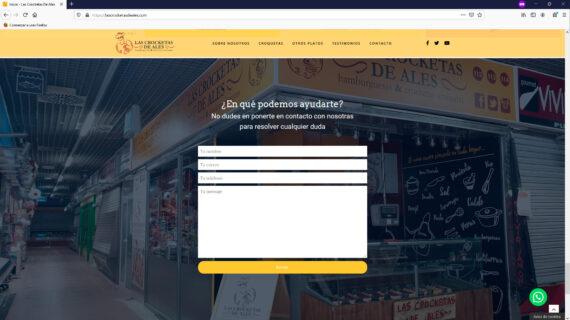 creacion web - seccion contacto venta de croquetas y hamburguesas artesanas frescas en Madrid