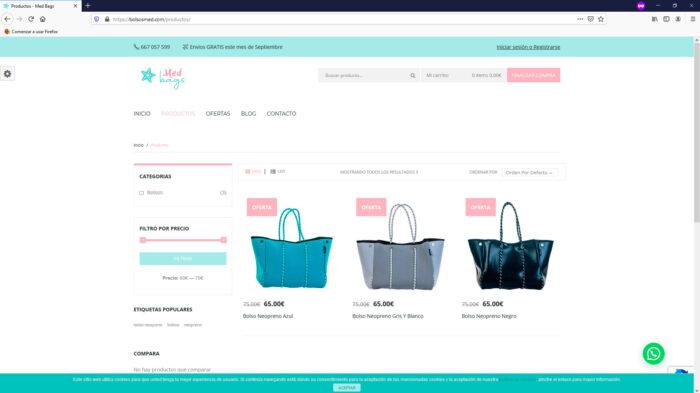 creacion web - tienda online venta de bolsos de neopreneo