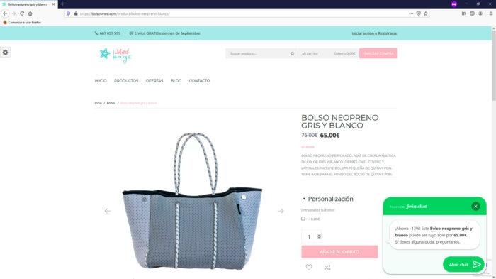 creacion web - producto tienda online venta de bolsos de neopreneo