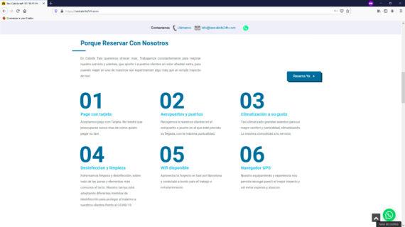 creacion web - seccion caracteristicas reserva taxis en Cabrils